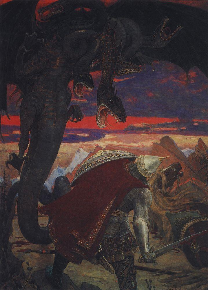 Бой Добрыни Никитича с семиглавым Змеем Горынычем. Васнецов