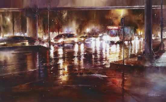 дорога в дождливый вечер