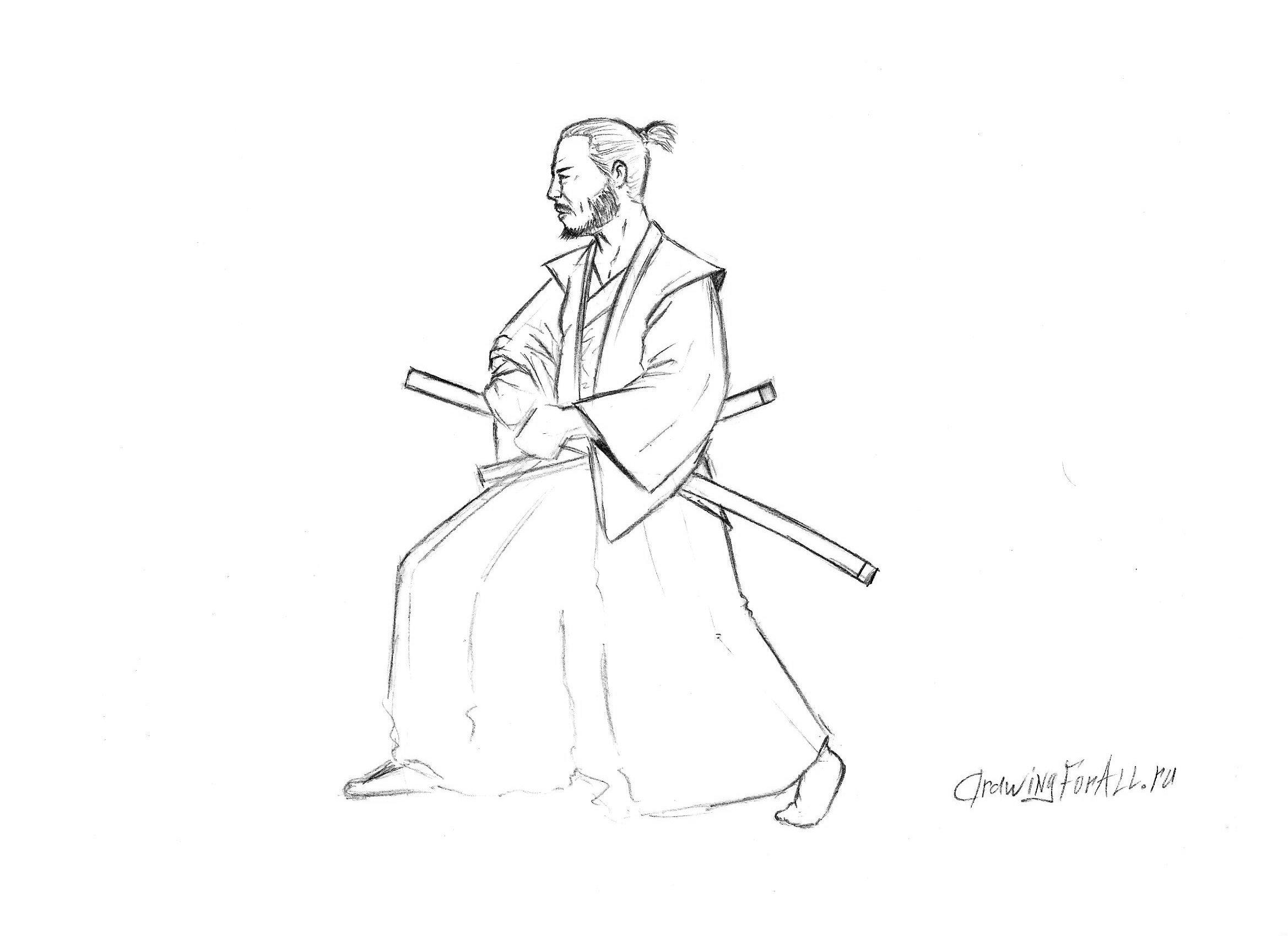 Как рисовать самурая