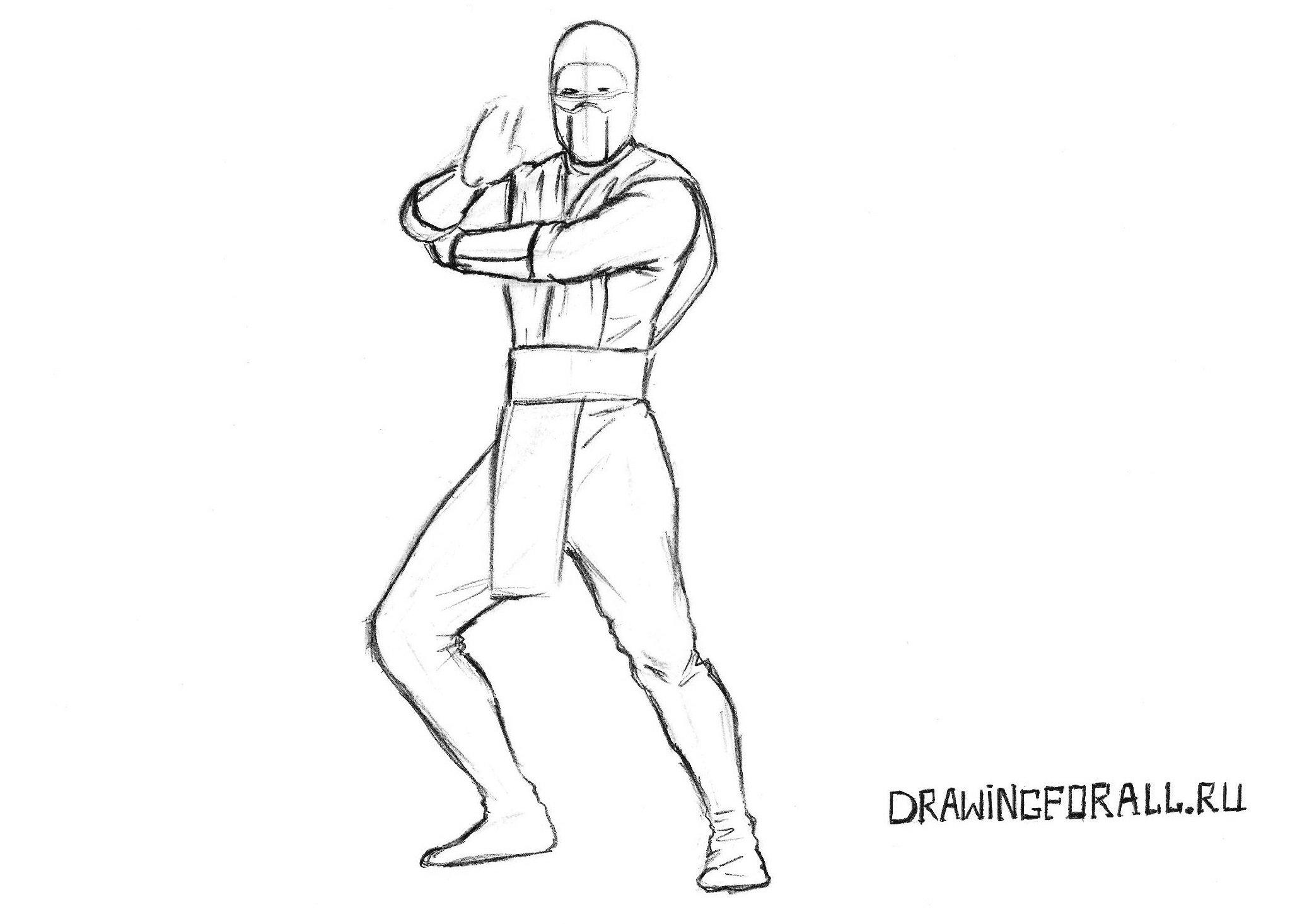 как нарисовать Скорпиона из Мортал Комбат