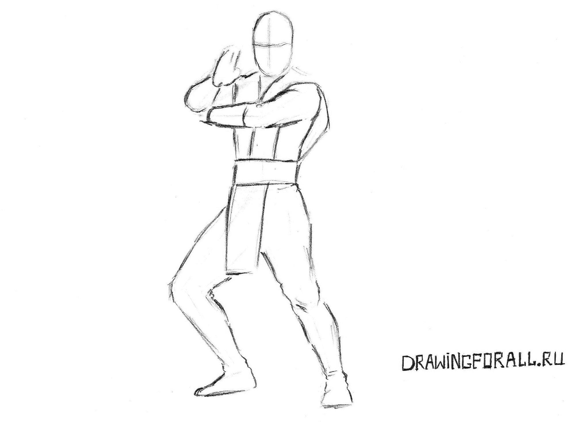 рисуем Скорпиона из Мортал Комбат