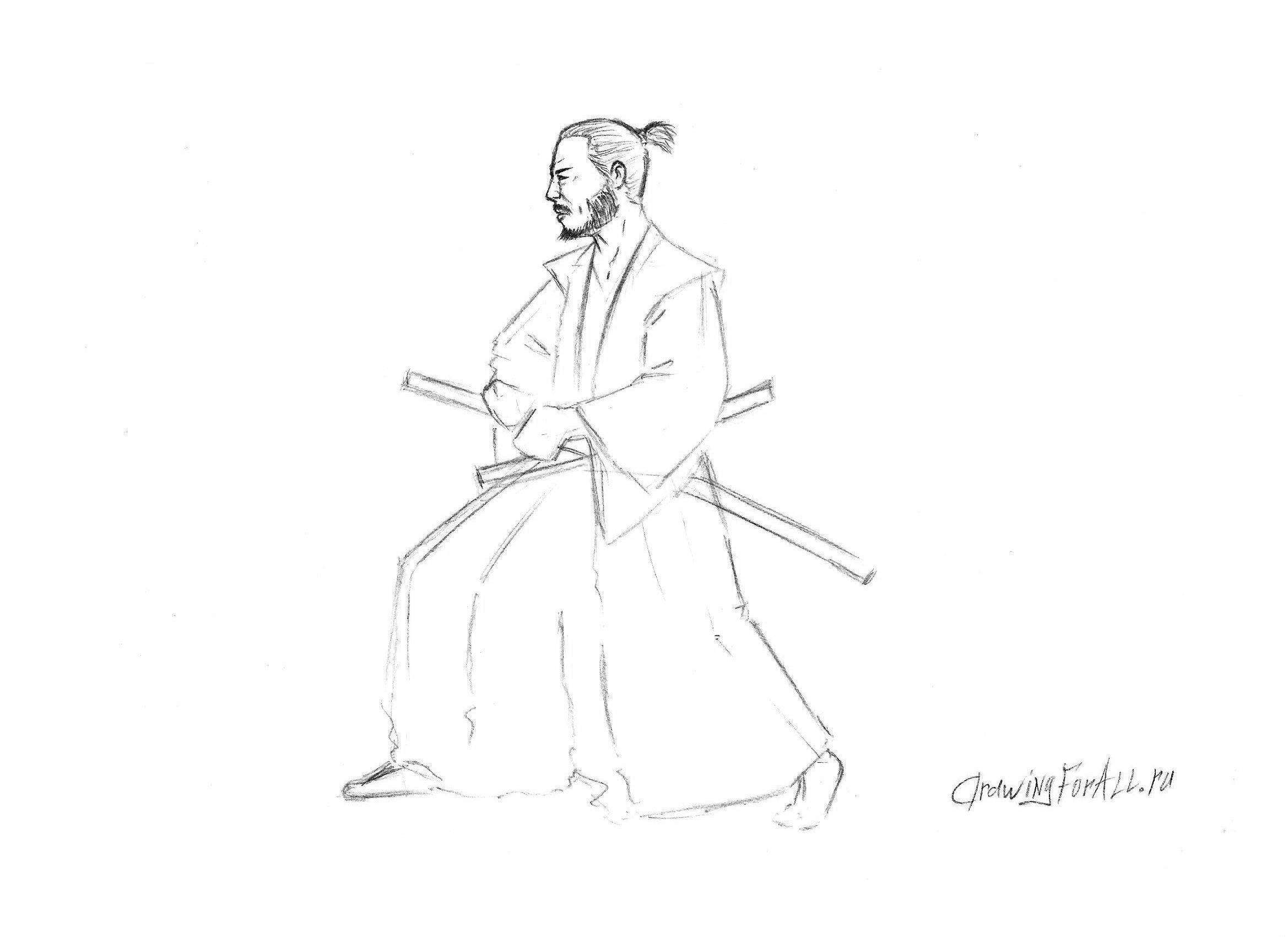 рисуем лицо самурая