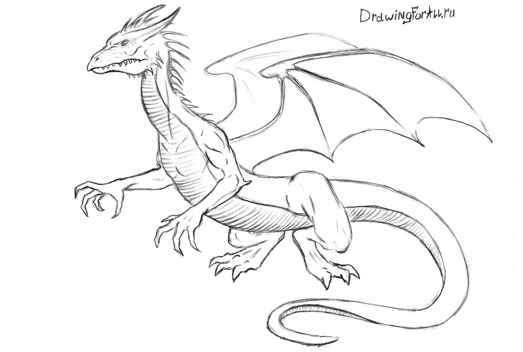 рисуем хвост дракона
