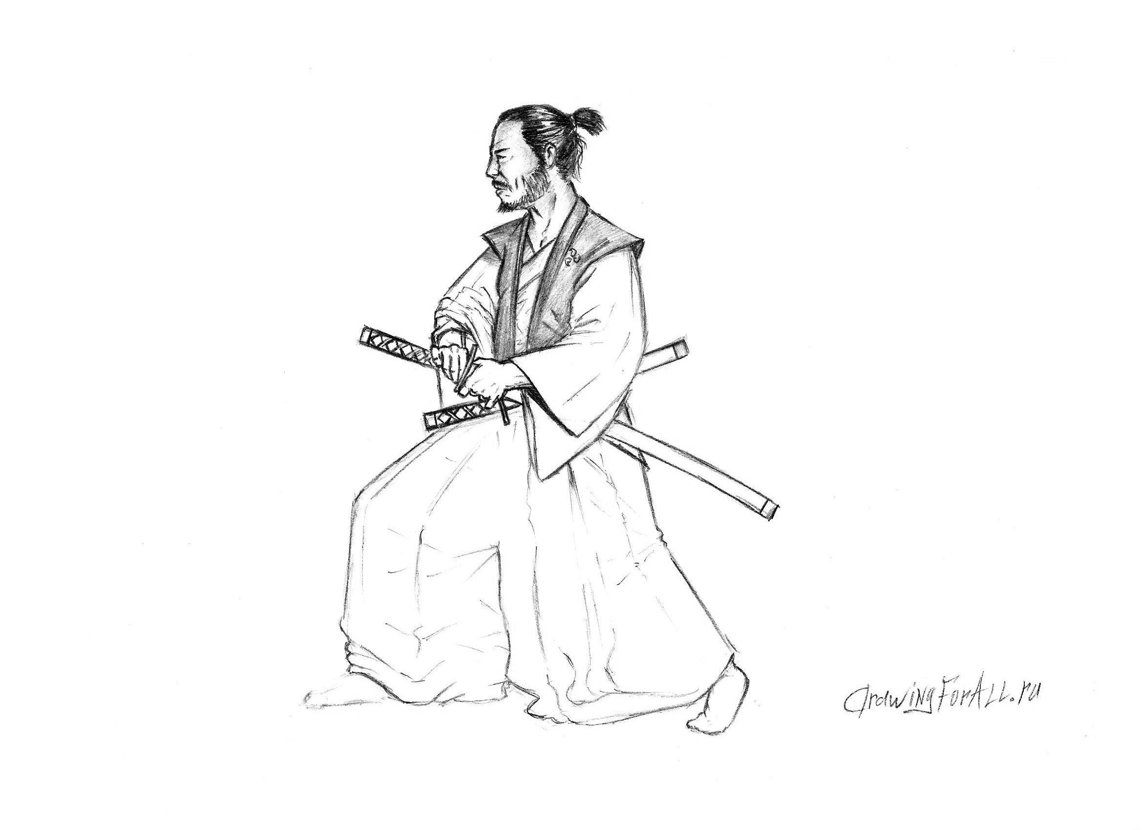 Рисуем самурая - наложение теней