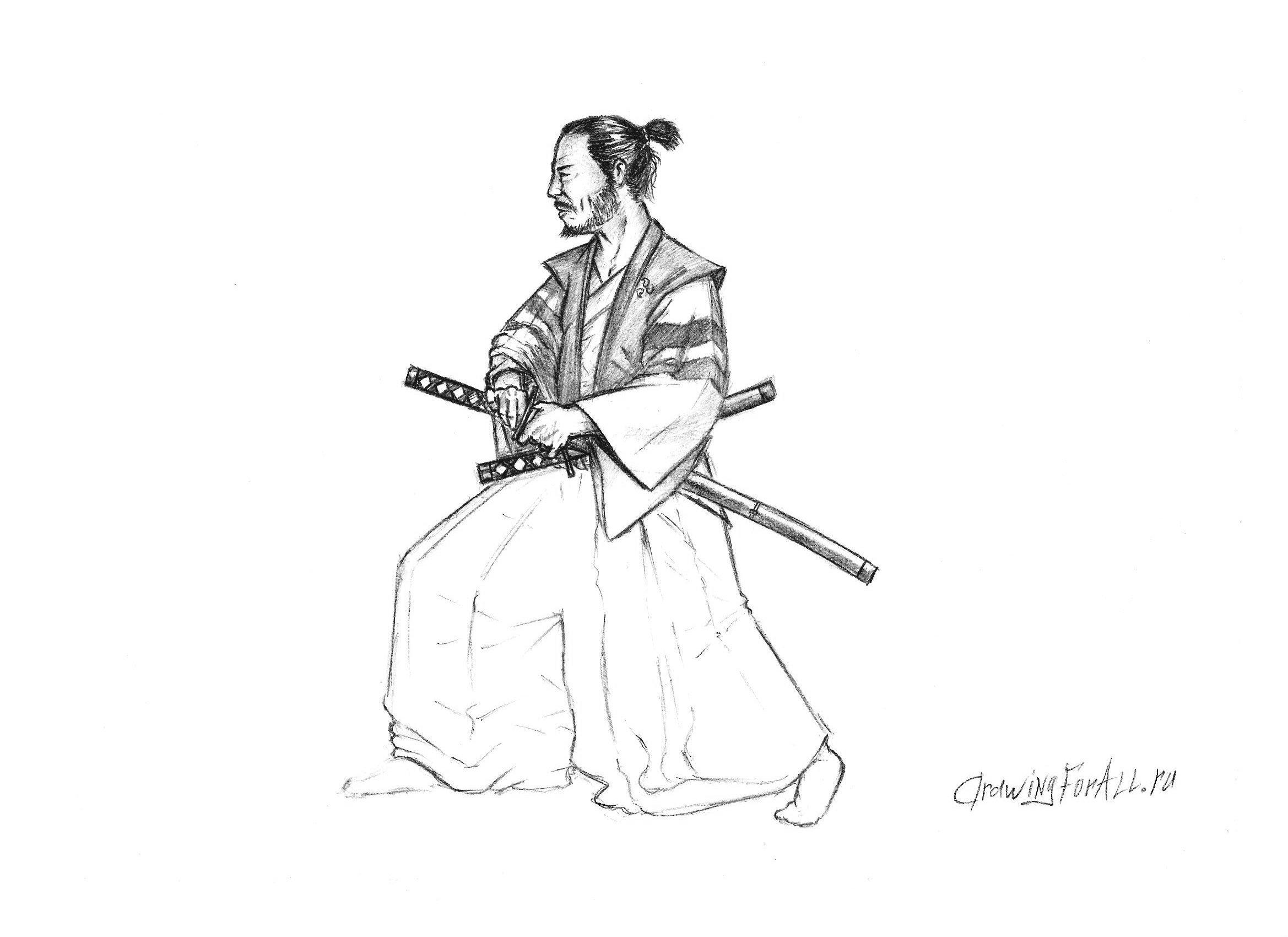 рисуем самурая поэтапно