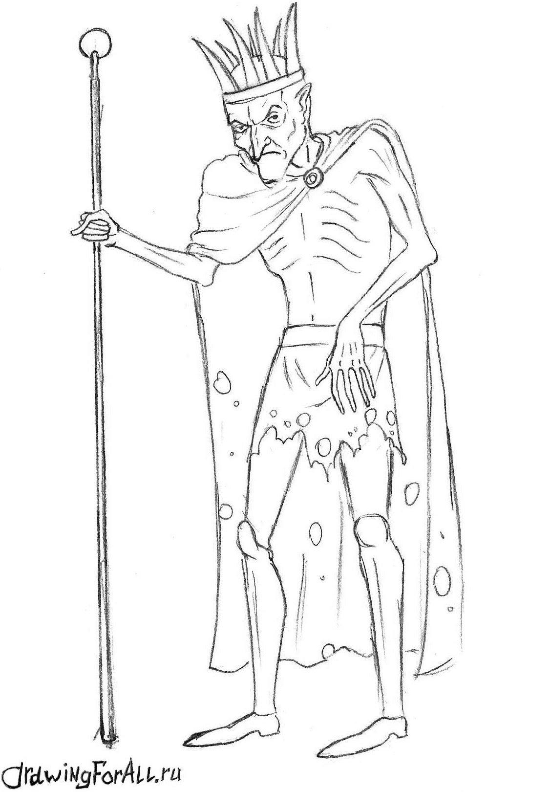 Как нарисовать Кощея из сказок