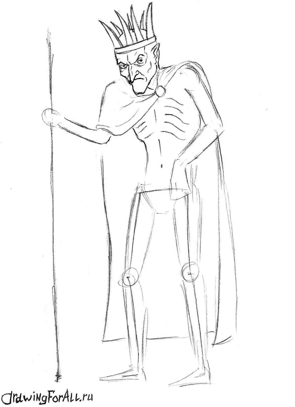 как нарисовать Кощея карандашом поэтапно