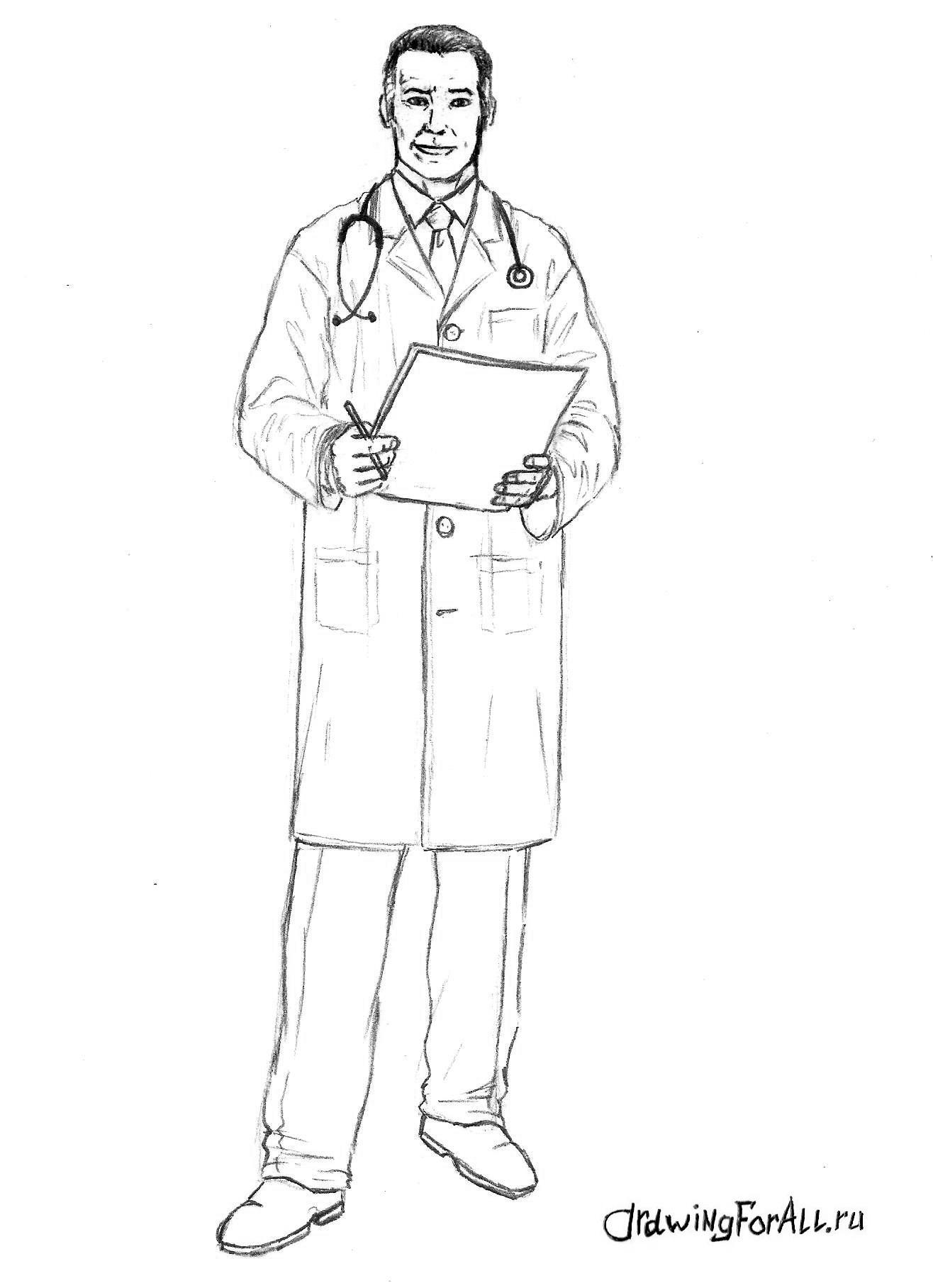 как нарисовать доктора поэтапно