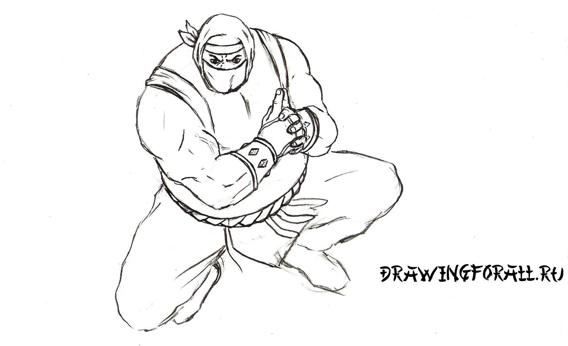 как нарисовать костюм ниндзя