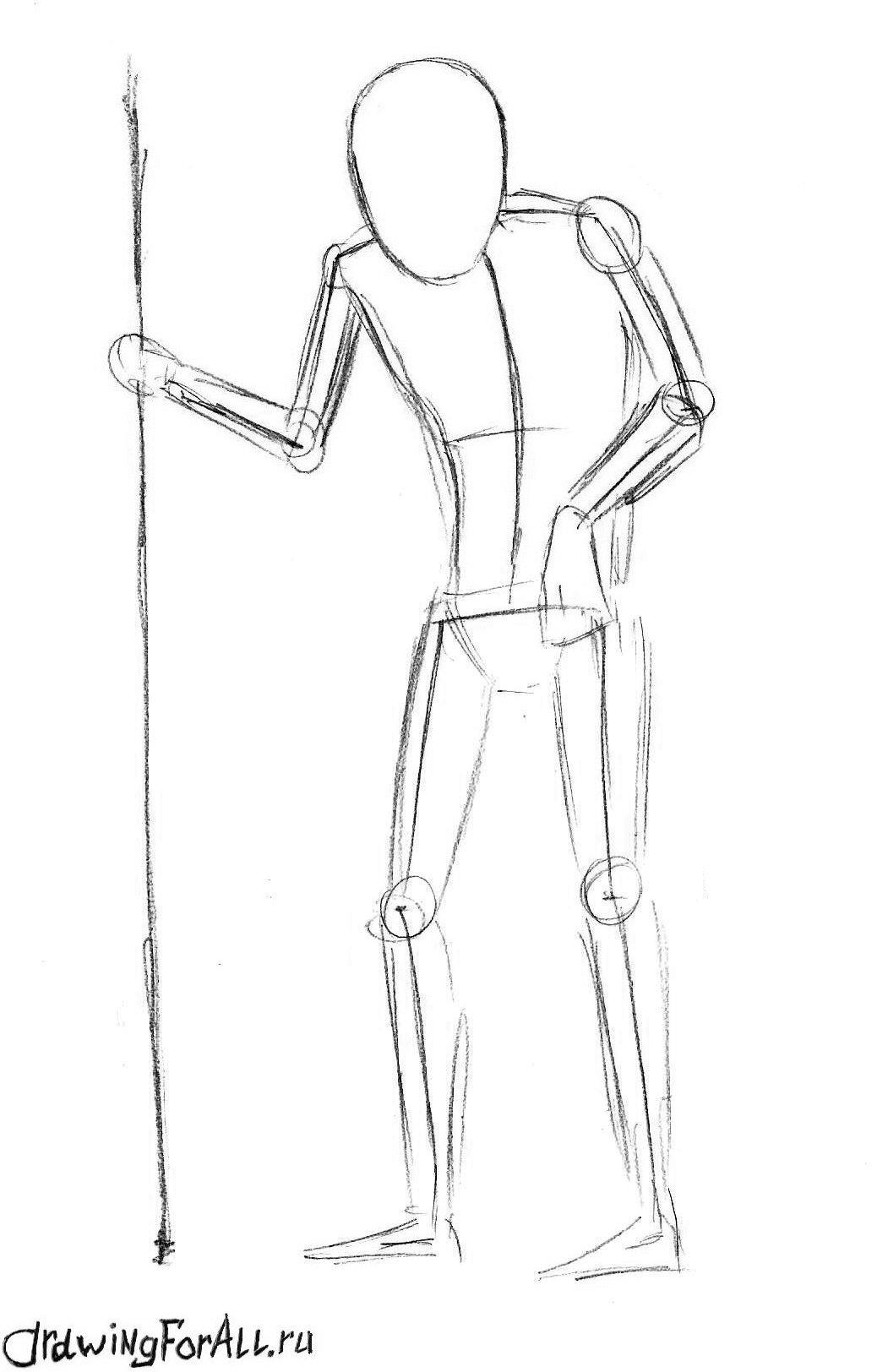 как нарисовать кощея карандашом