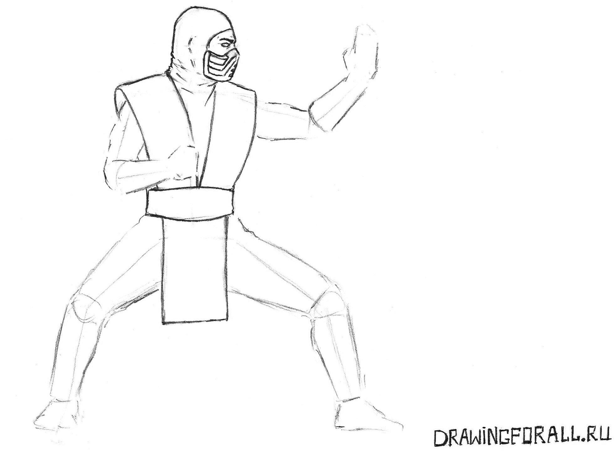 как нарисовать ниндзя Саб-Зиро