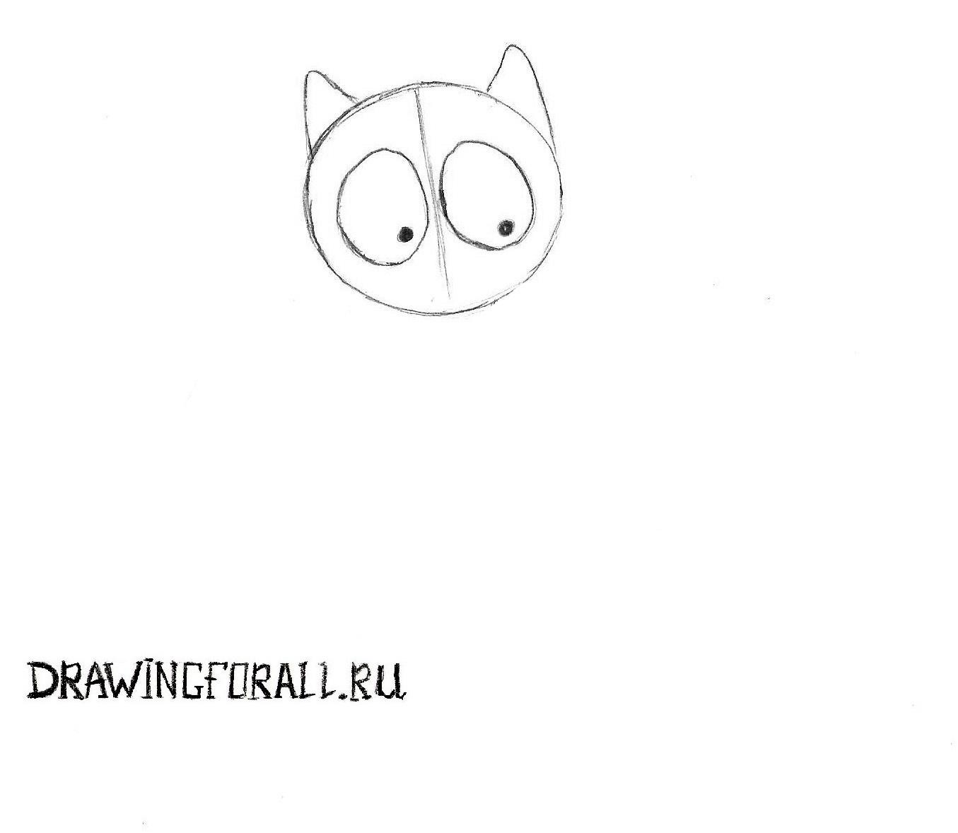 как нарисовать уши кошки