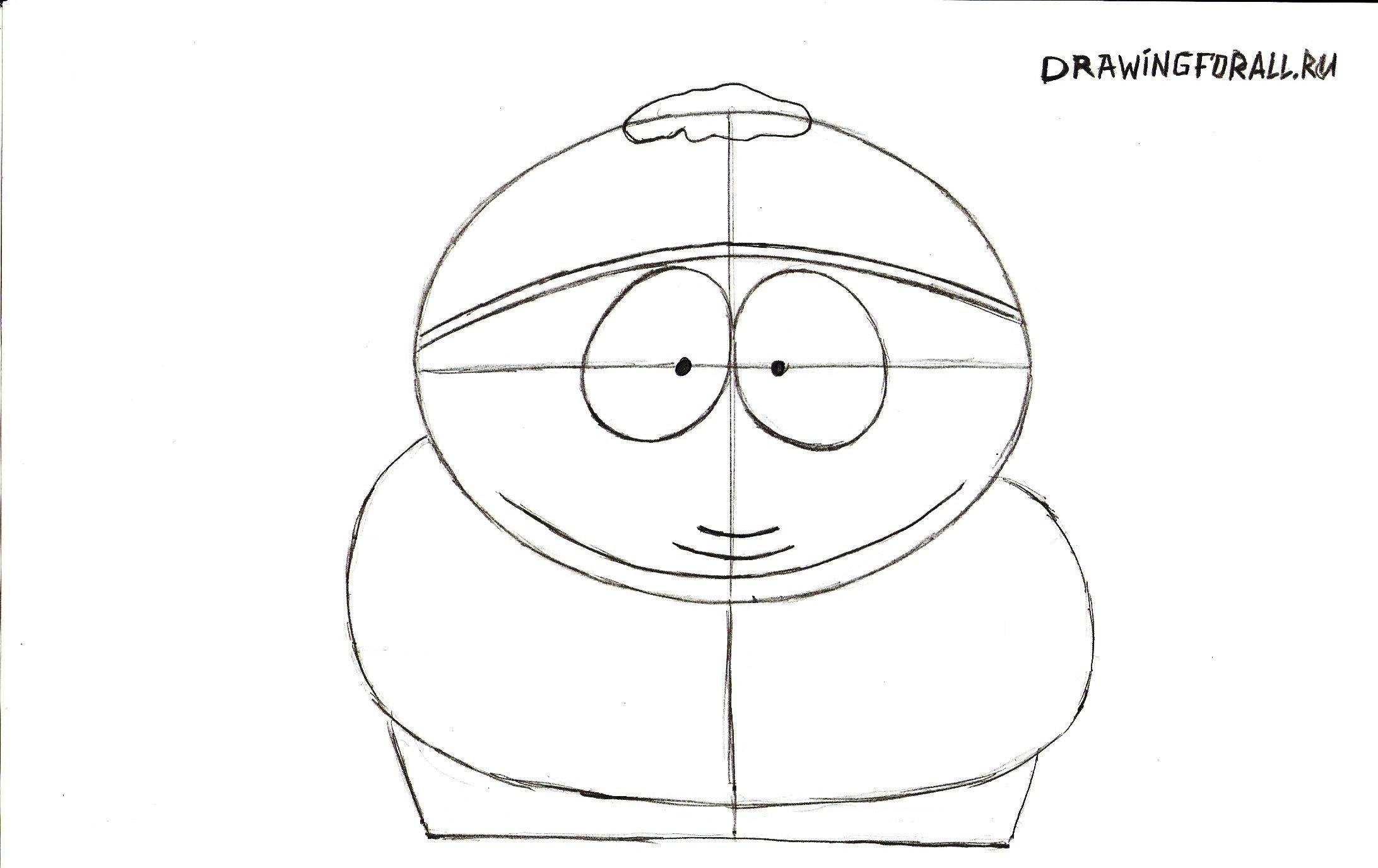 рисуем двойной подбородок Картмана