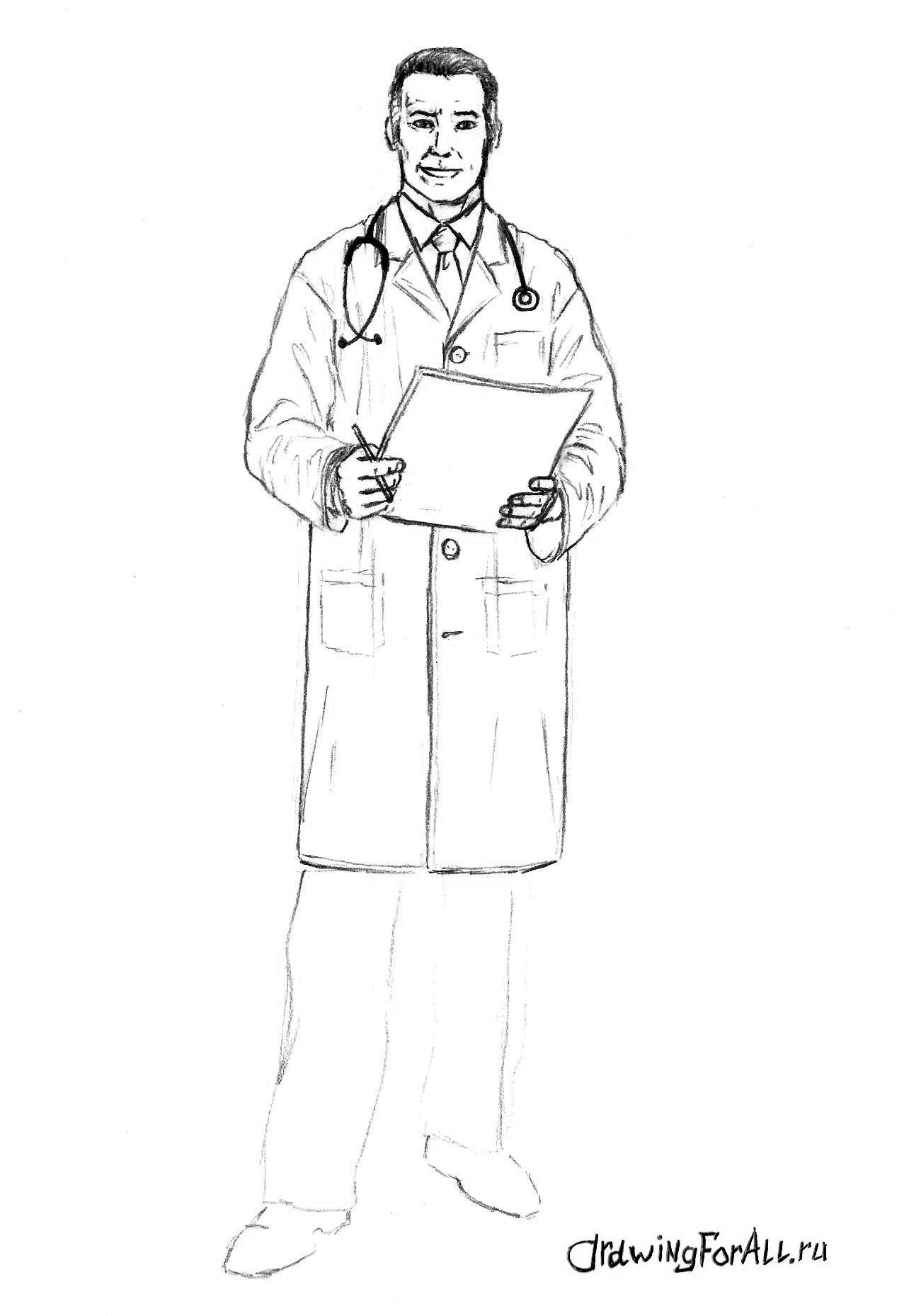 рисуем халат доктора