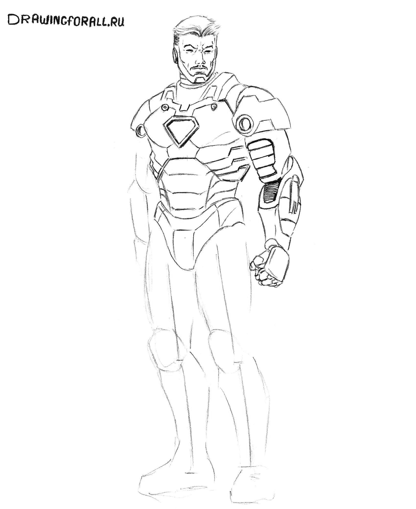 Железный человек из фильма нарисовать