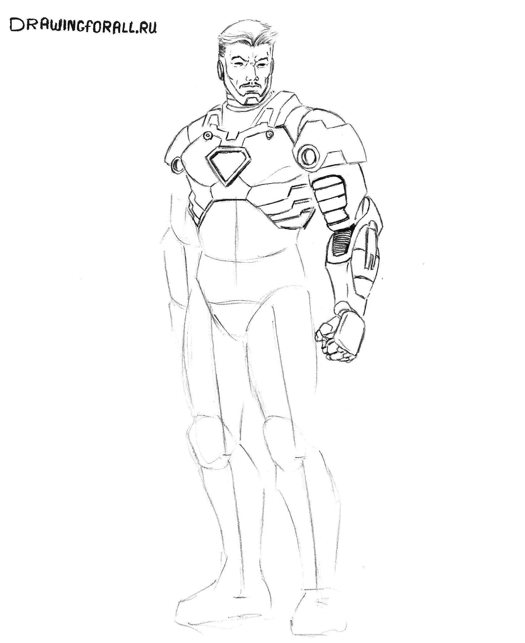 Как нарисовать Железного Человека поэтапно карандашом