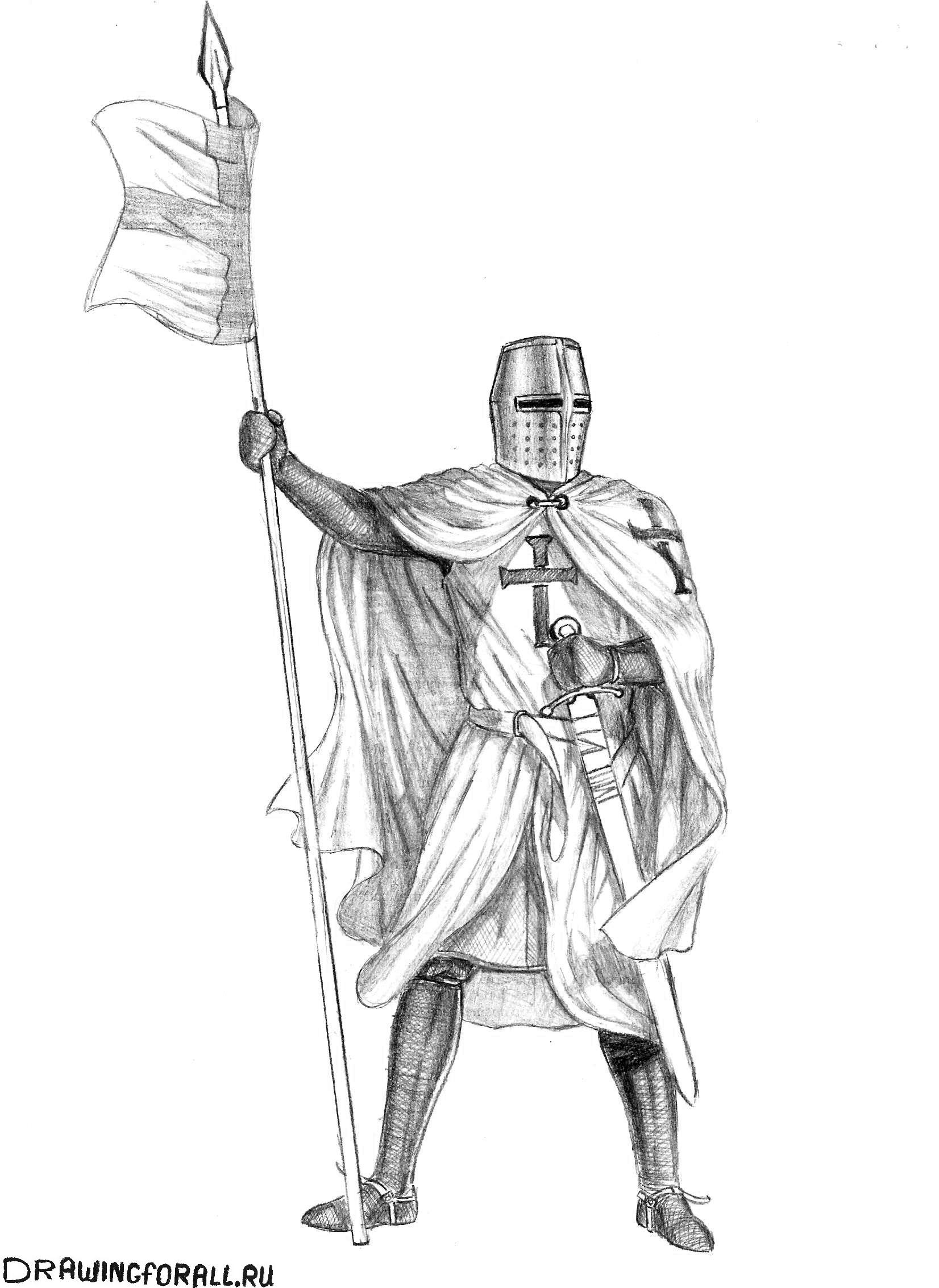 Рисуем рыцаря из сказок поэтапно карандашом