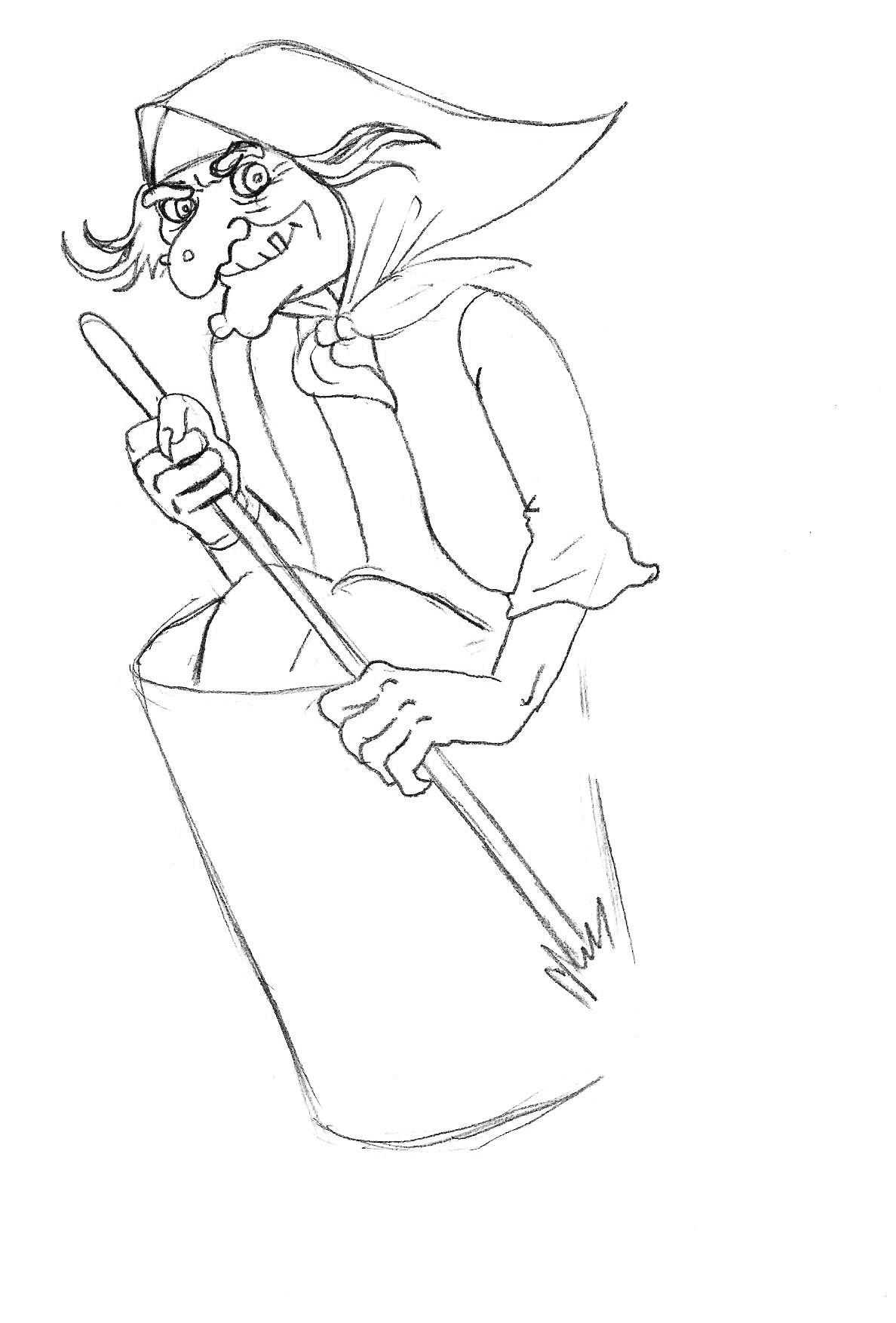 как нарисовать бабу ягу карандашом поэтапно