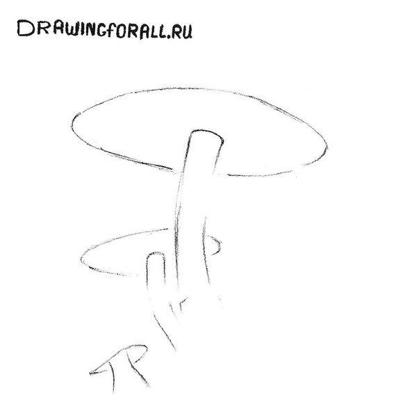 как нарисовать гриб поэтапно