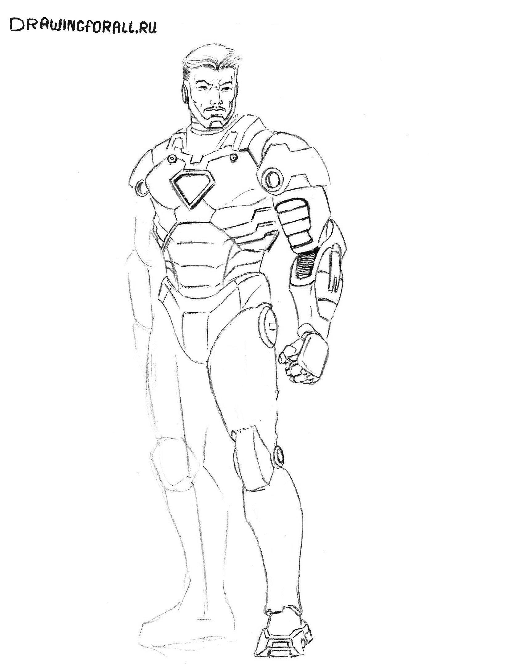 как нарисовать железного человека карандашом поэтапно