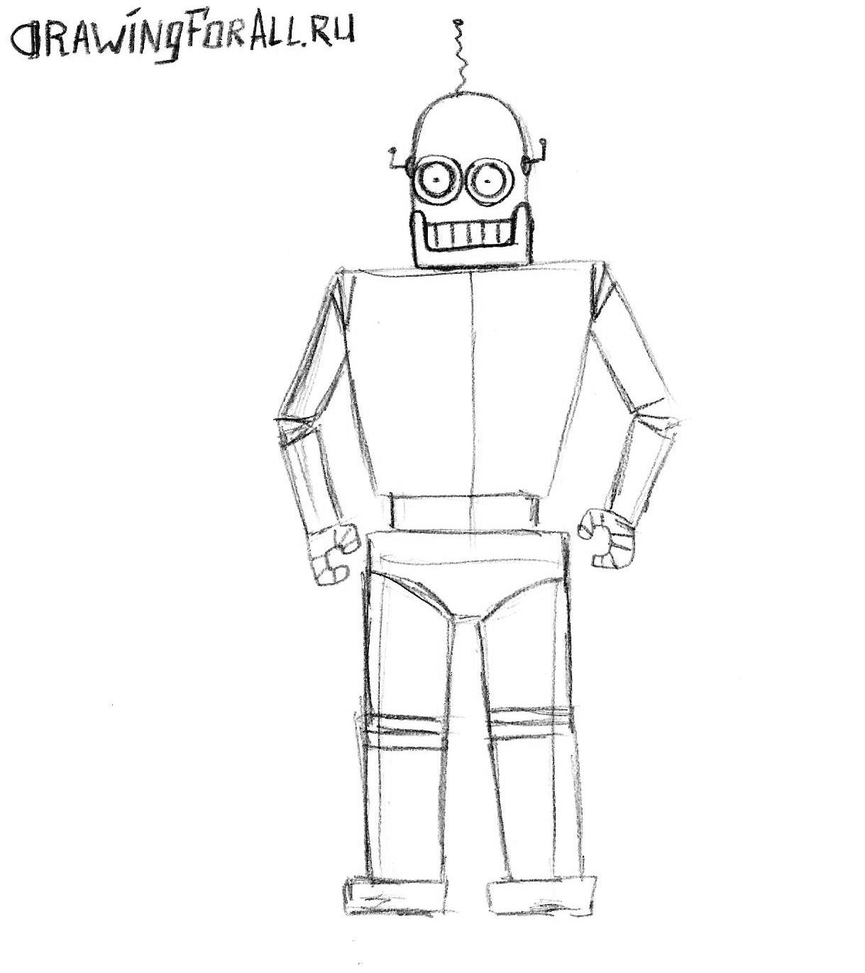 как нарисовать лицо робота