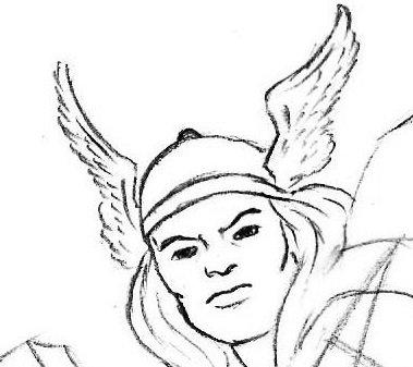 как нарисовать лицо тора из мстителей - копия