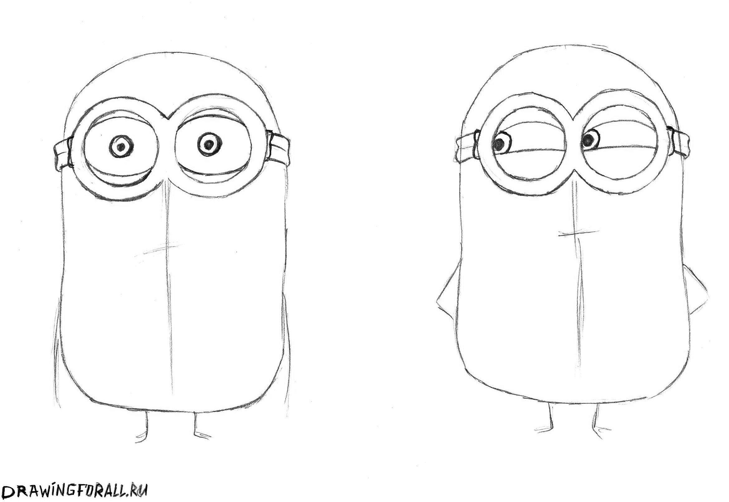 как нарисовать миньонов поэтапно карандашом