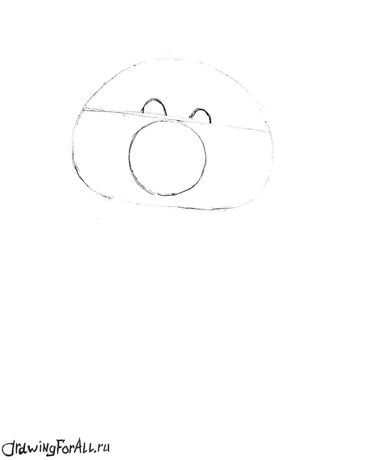 как нарисовать олимпийского мишку карандашом