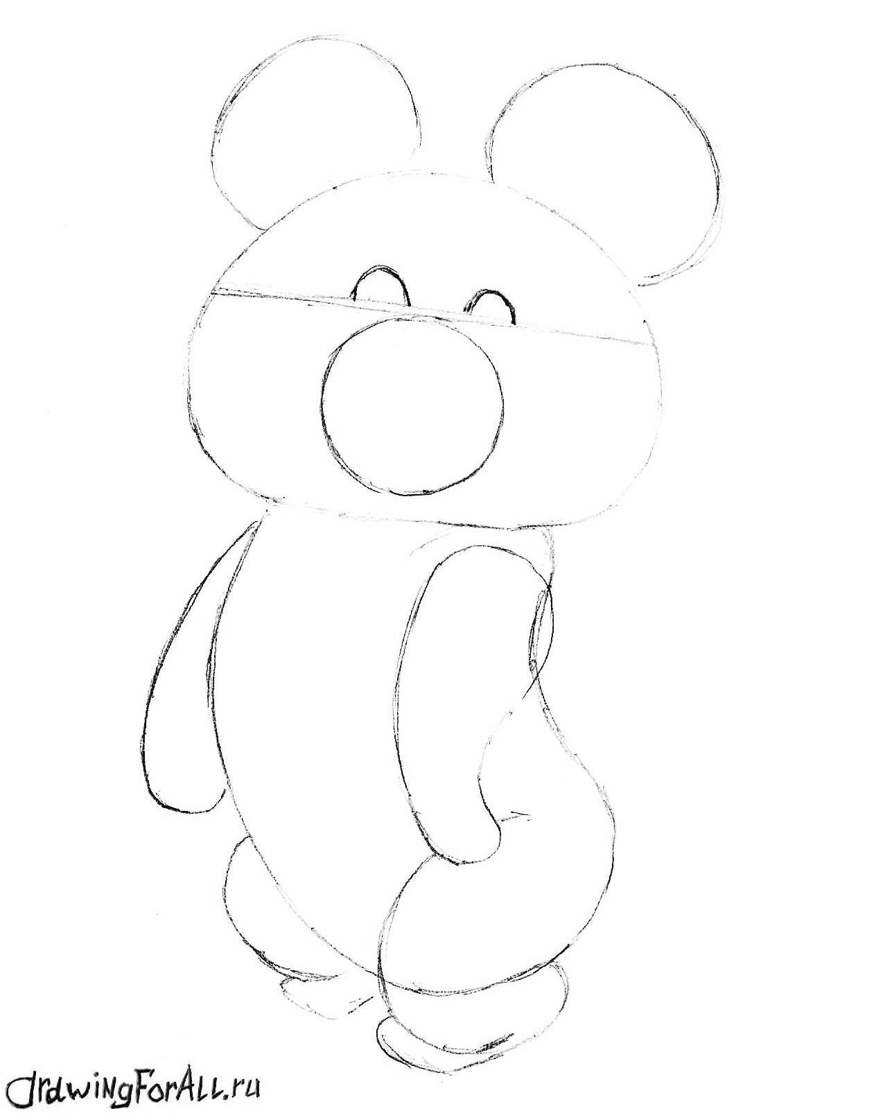 как нарисовать олимпийского мишку поэтапно карандашом
