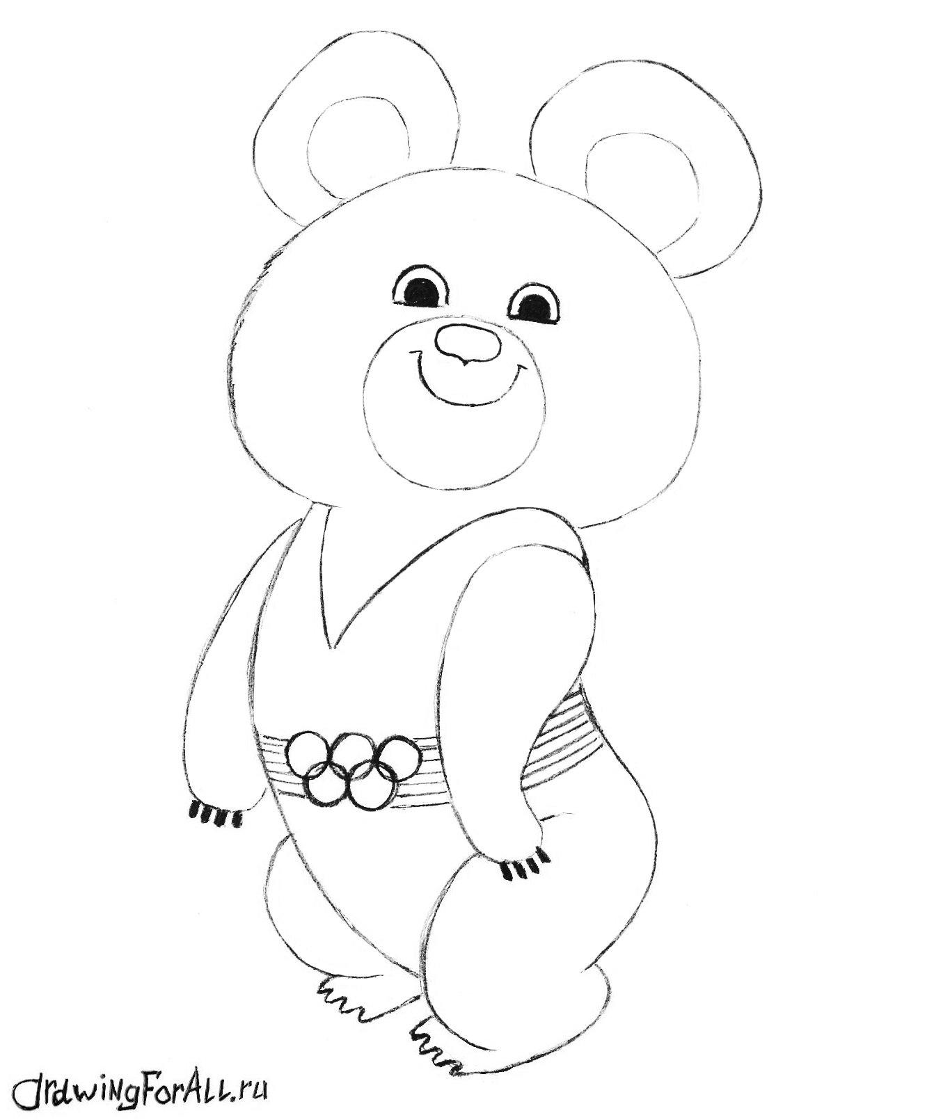 как нарисовать олимпийского мишку