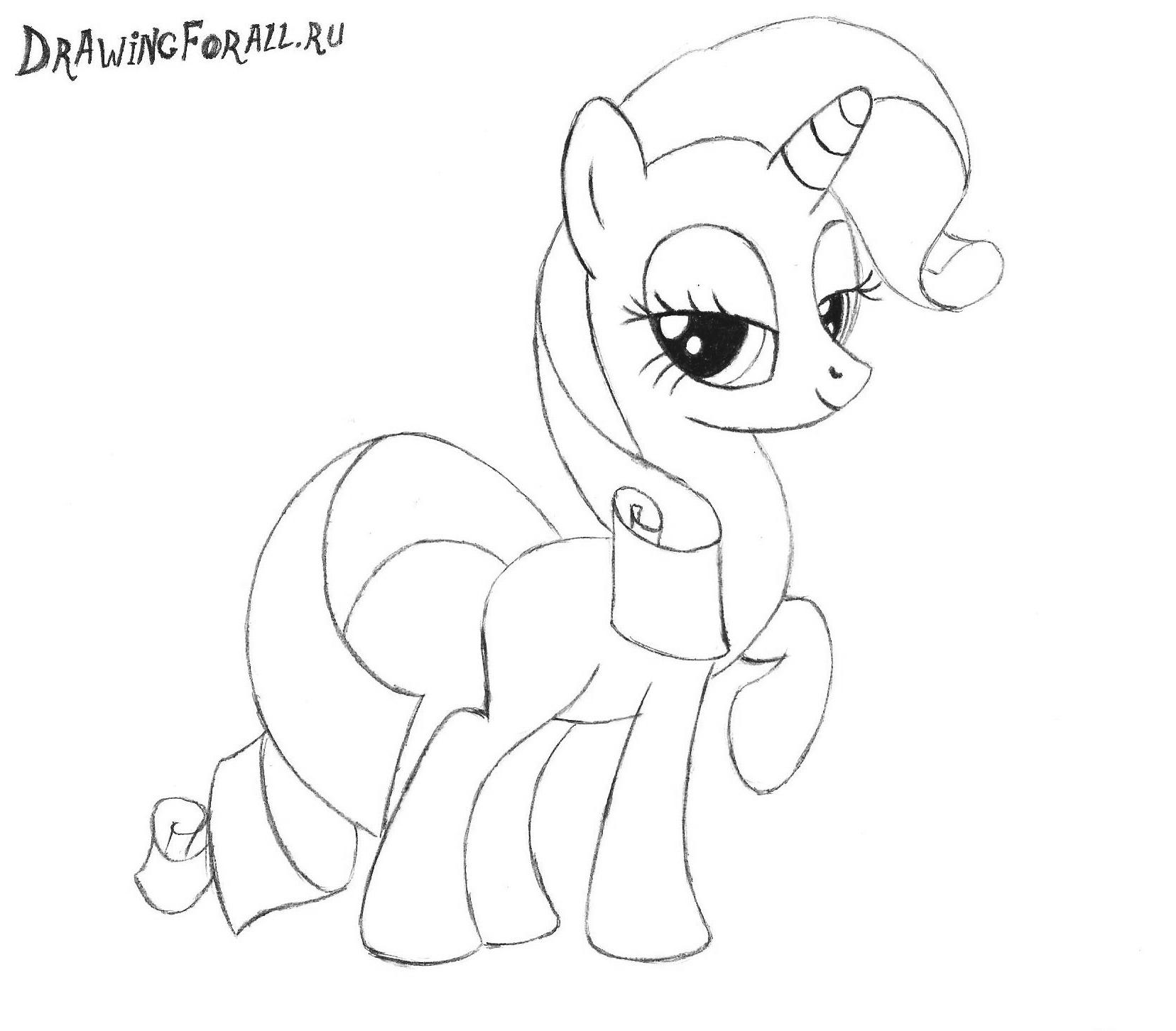 как нарисовать пони рарити поэтапно карандашом