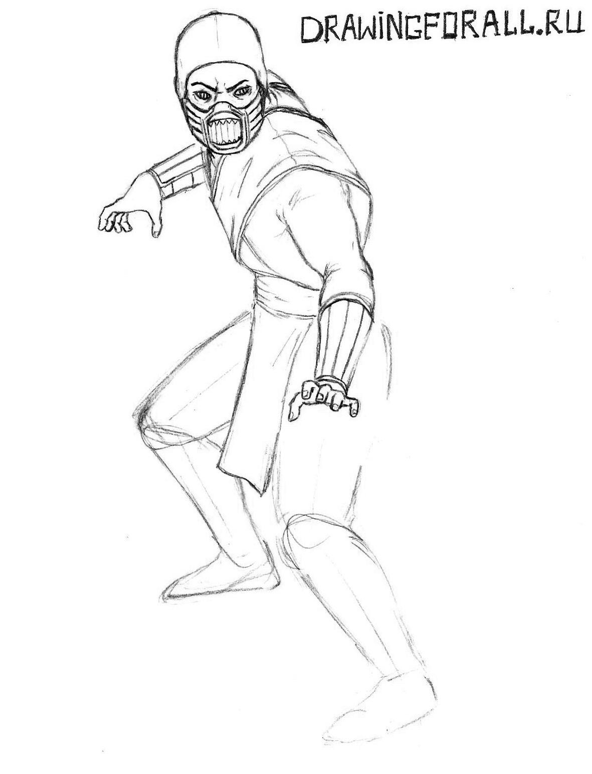 как нарисовать рептилию карандашом мортал комбат
