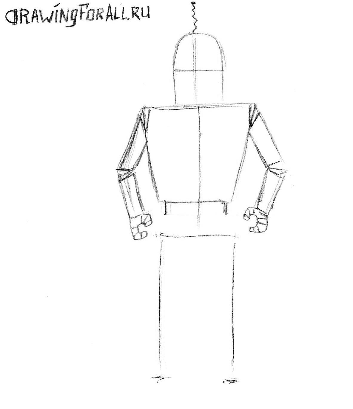 как нарисовать робота карандашом