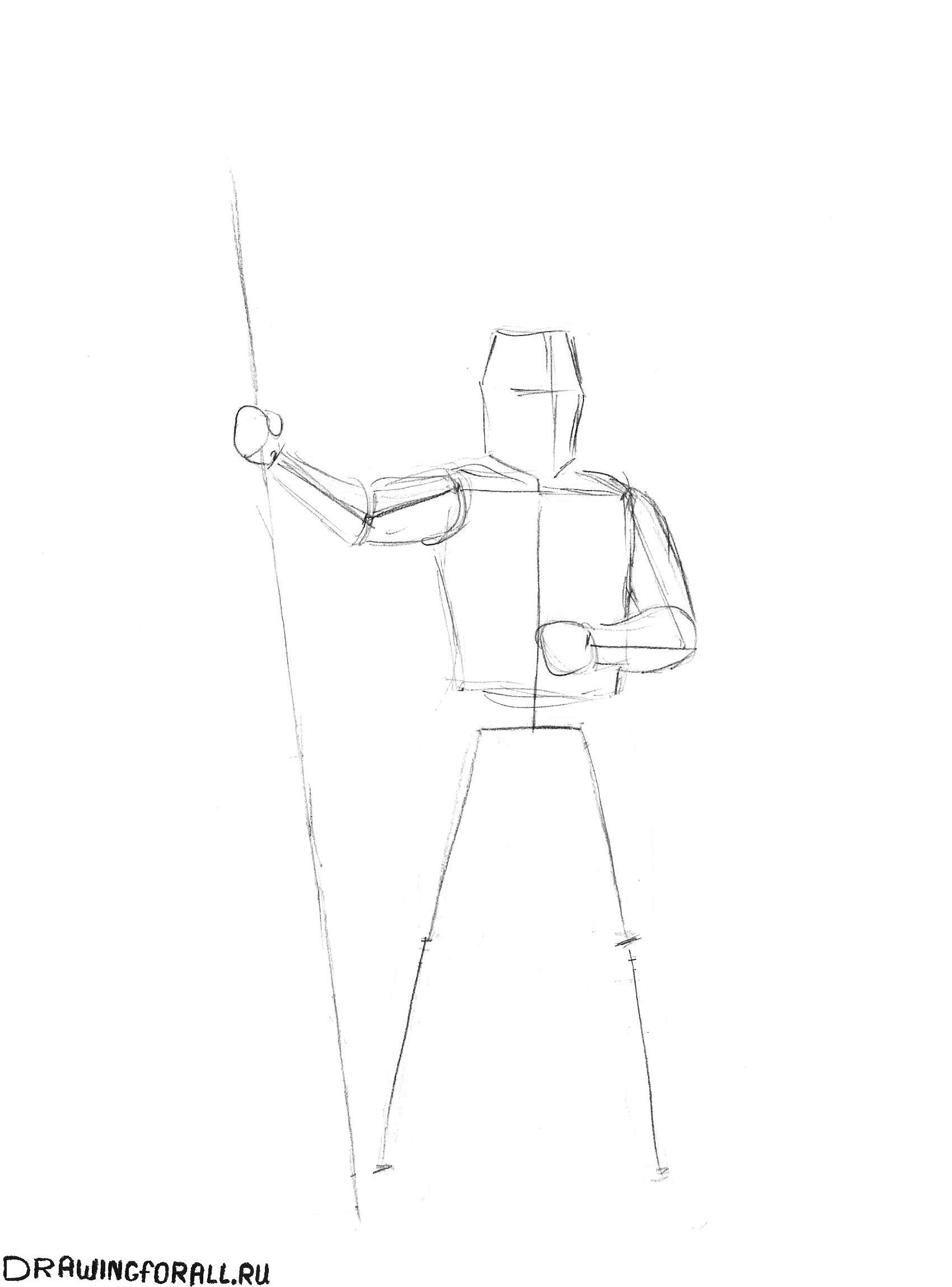 как нарисовать рыцаря поэтапно