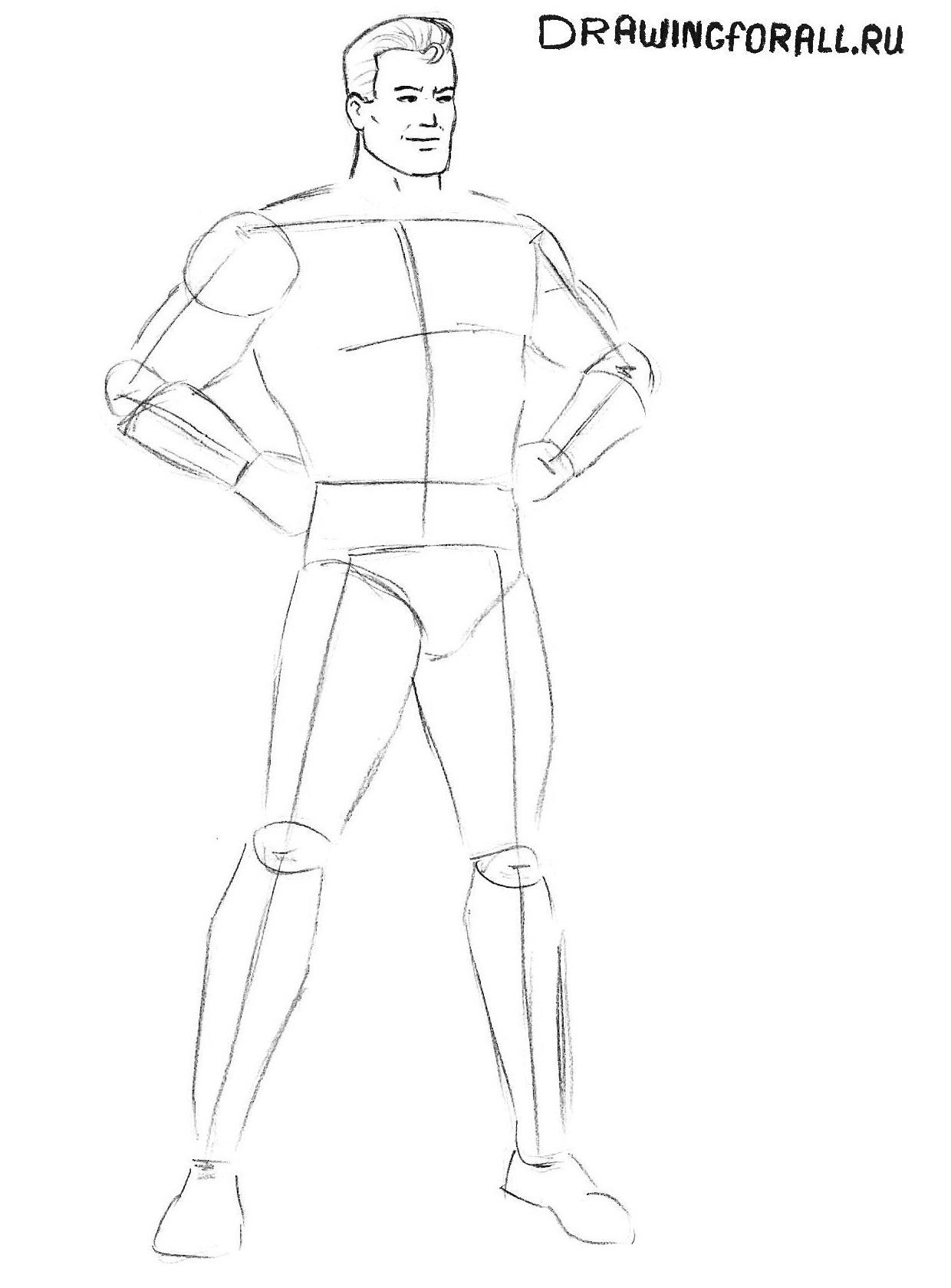 как нарисовать супермена карандашом поэтапно