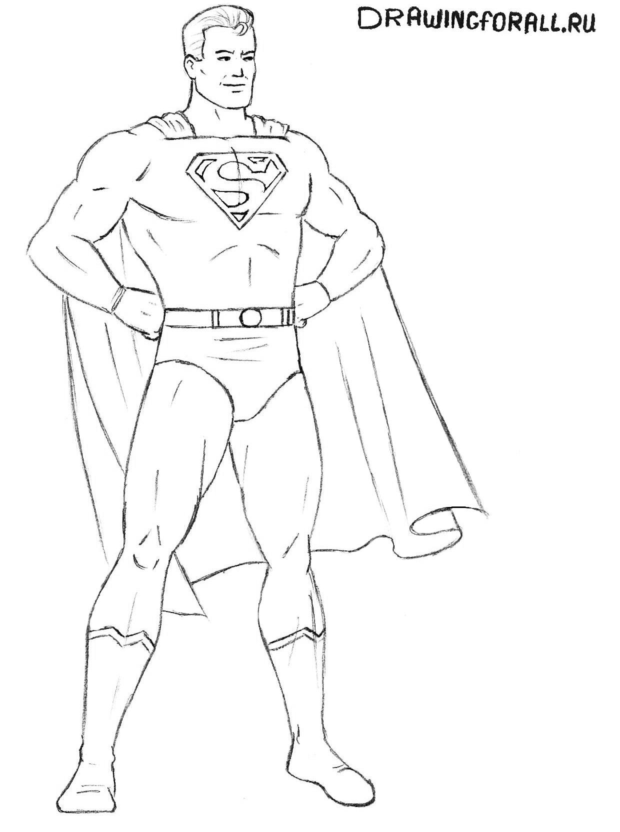 как нарисовать супермена