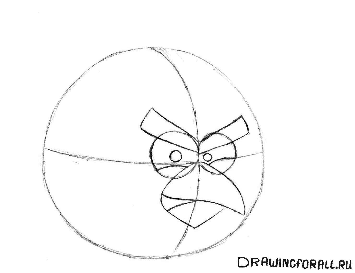 как нарисовать энгри бёрдз карандашом