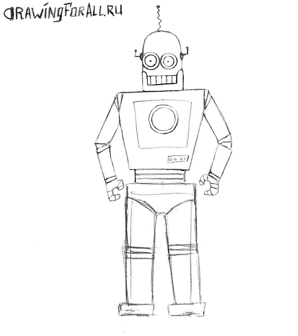 как рисовать робота карандашом поэтапно