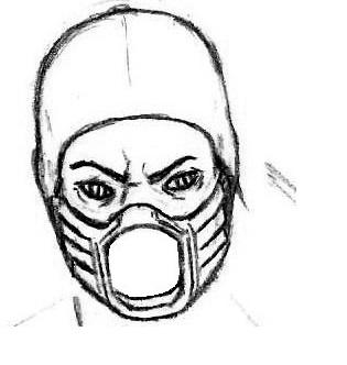 нарисованное лицо Рептилии из мортал комбат