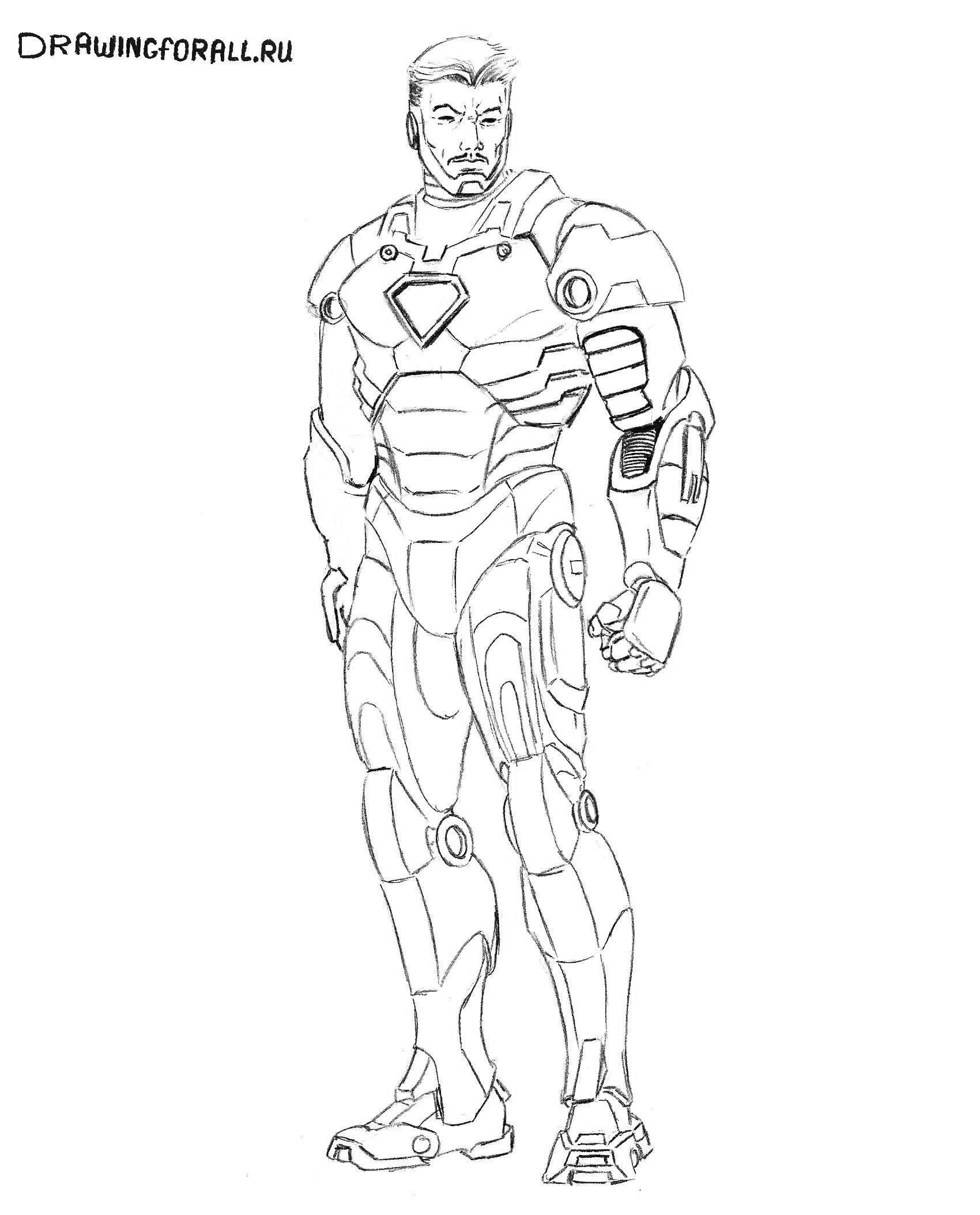 нарисованный карандашом железный человек