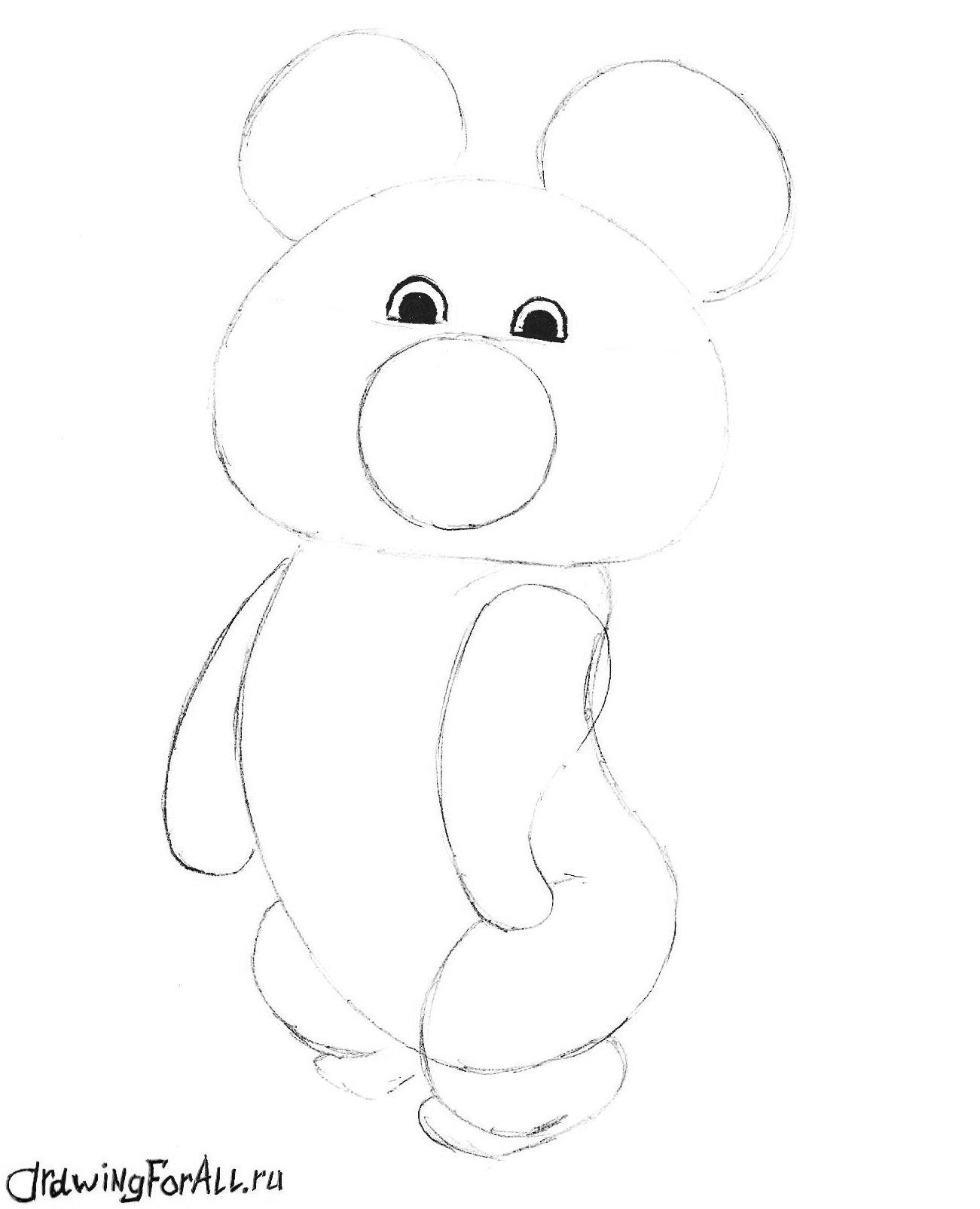 олимпийский мишка нарисованный карандашом