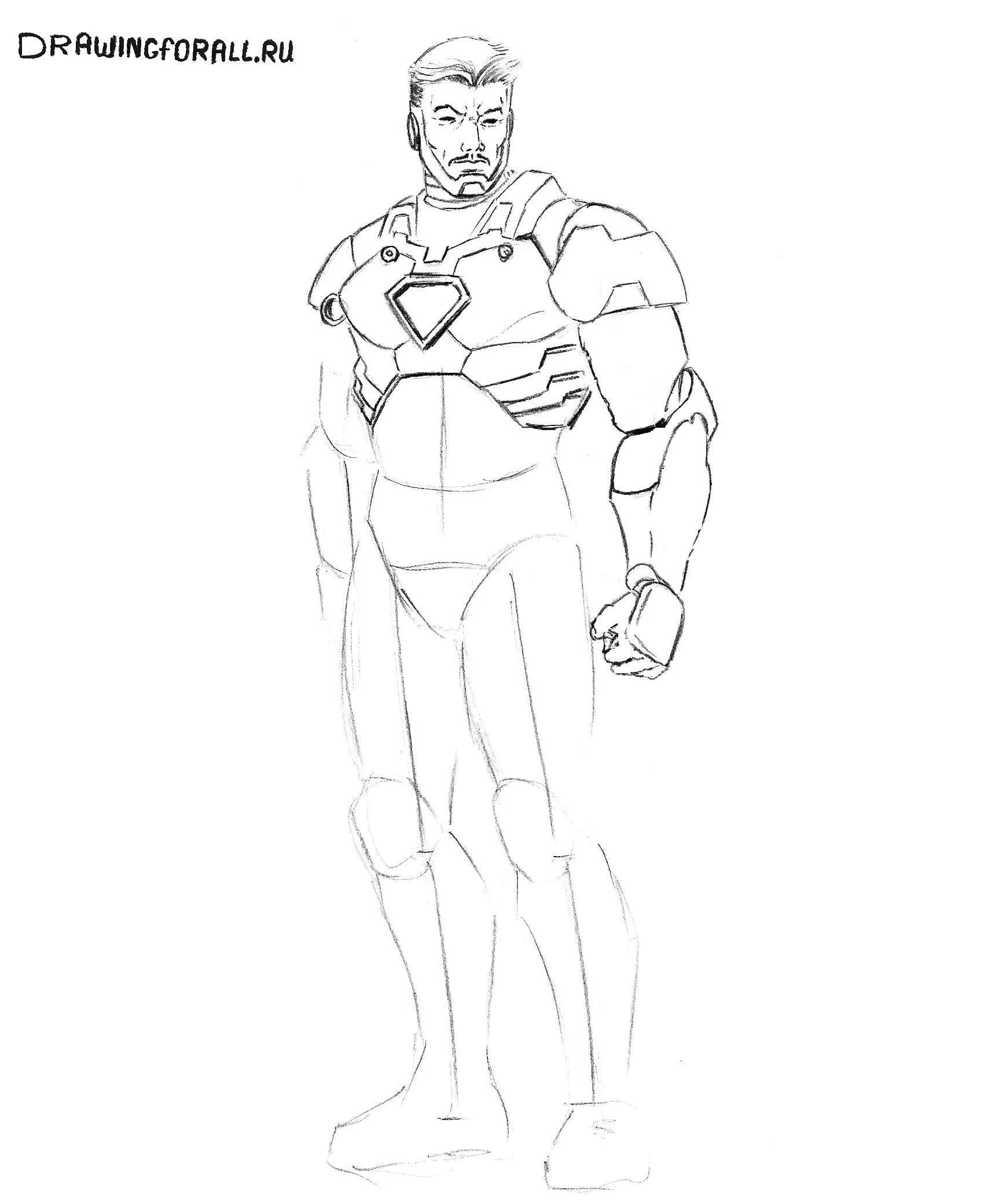 рисуем железного человека из фильма