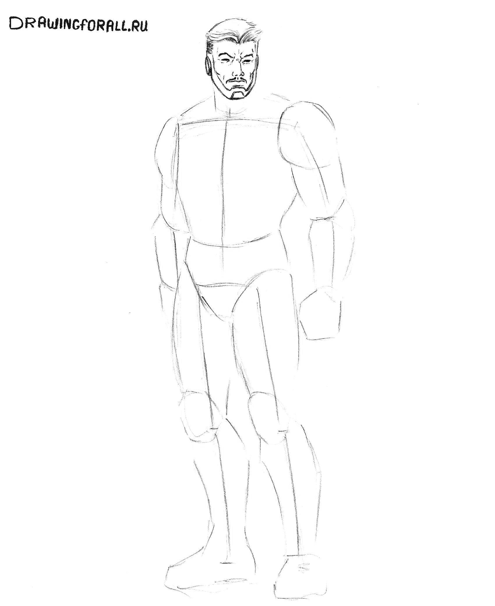 рисуем железного человека поэтапно карандашом