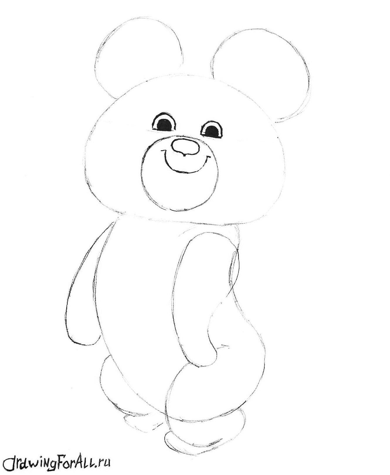 рисуем олимпийского мишку поэтапно карандашом фото