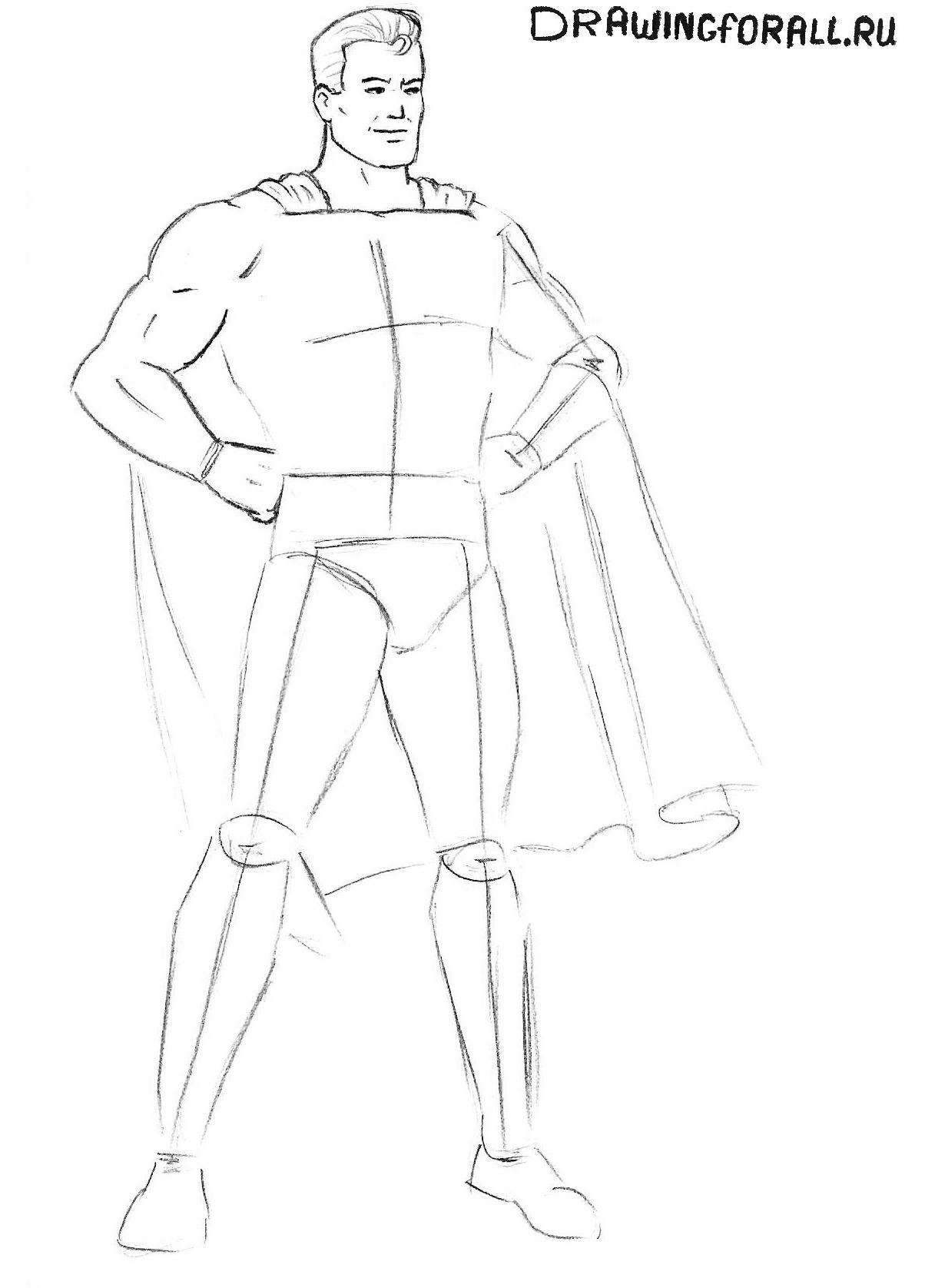 рисуем руки супермена поэтапно