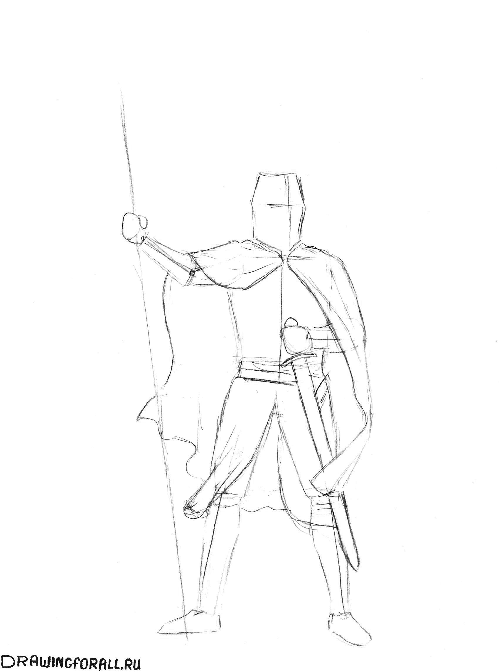 рисуем рыцаря карандашом
