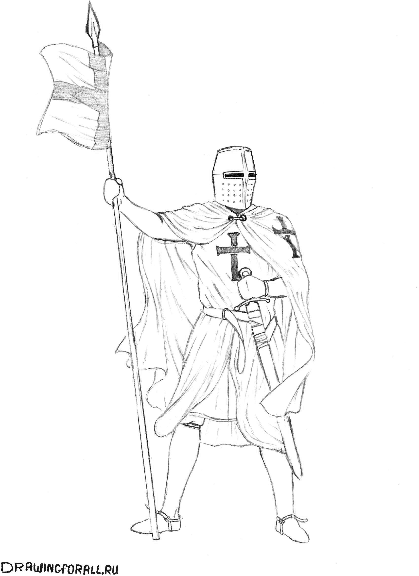 рисуем рыцаря поэтапно карандашом