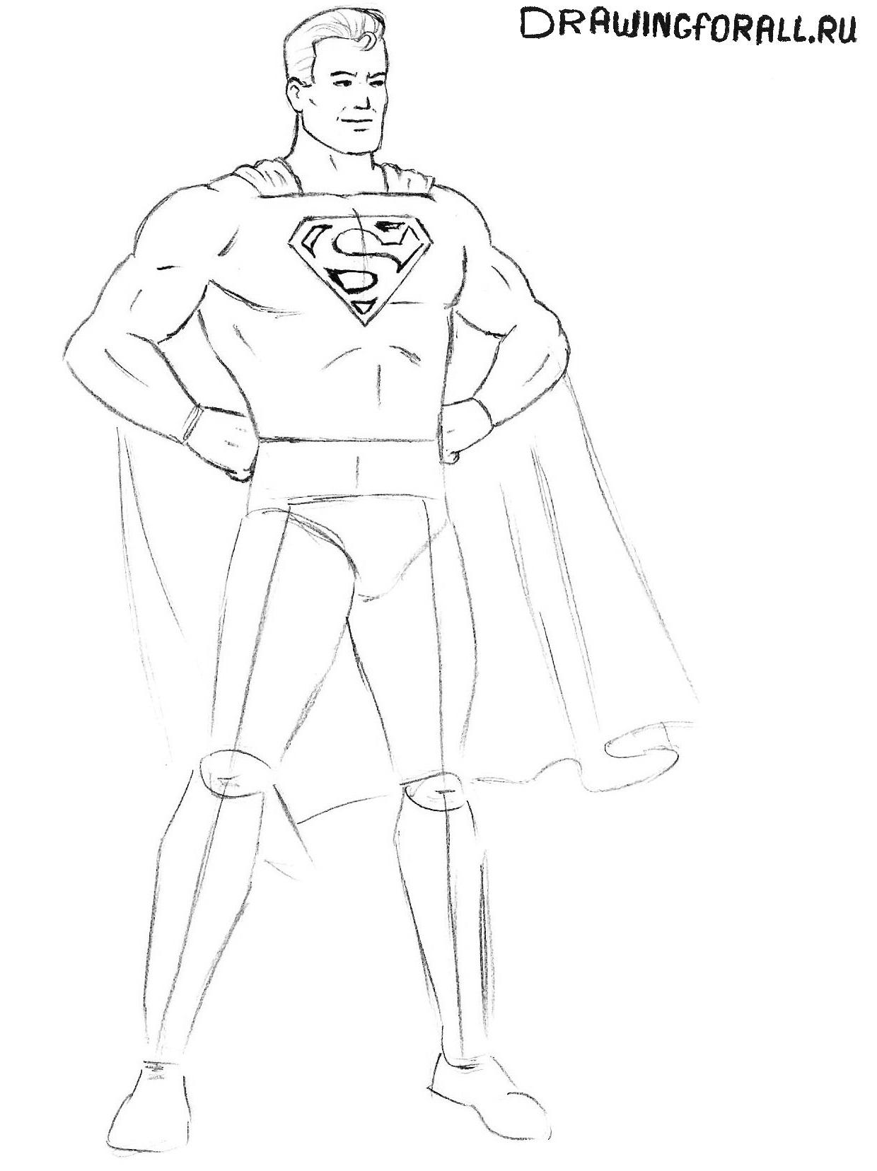 рисуем супермена карандашом