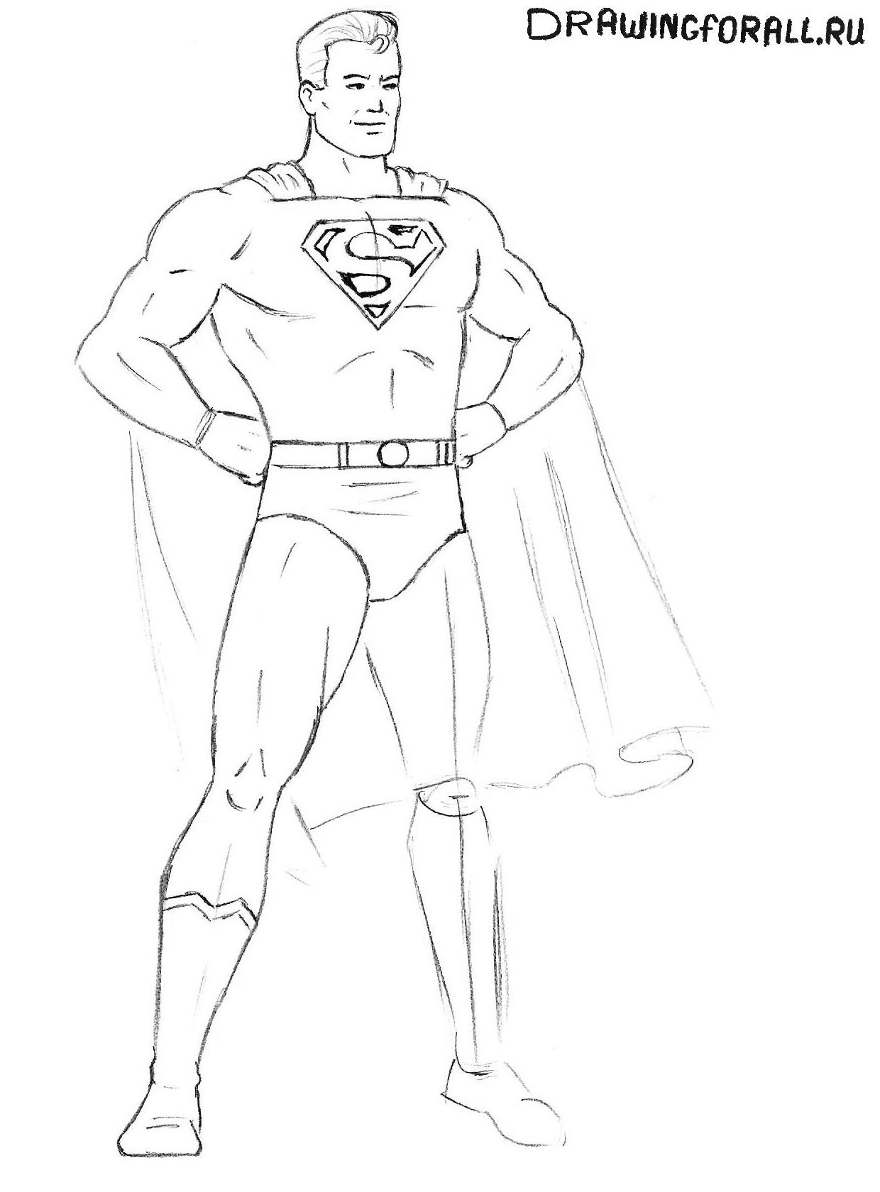 рисуем супермена поэтапно карандашом