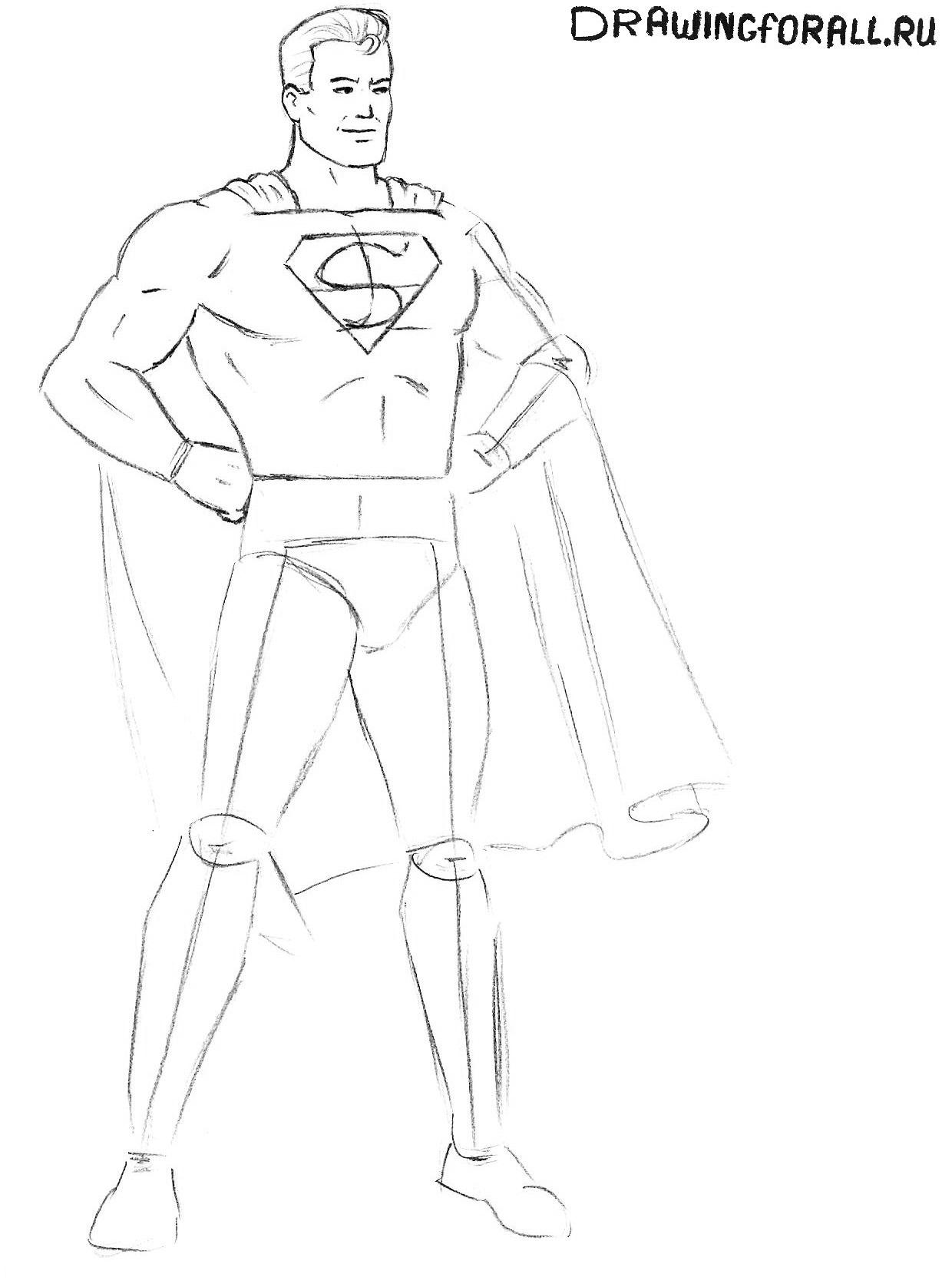 рисуем супермена поэтапно